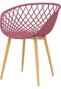 Cadeira Clarice Assento Em Polipropileno Cor Cereja Com Base Palito Cor Madeira - 49366 - Sun House