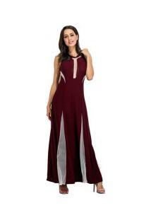Vestido Longo Sem Mangas Com Detalhes Transparente - Vinho