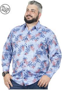 Camisa Plus Size Bigshirts Manga Longa Flamê Floral Azul
