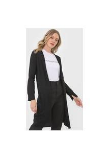 Maxi Cardigan Tricot Calvin Klein Jeans Textura Preto