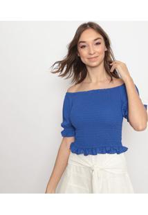 Blusa Ciganinha Com Babado- Azul Escurola Chocolãª