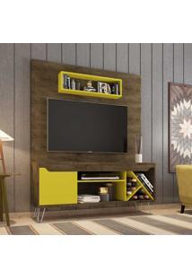 Estante Para Tv Até 52 Polegadas 1 Porta 5 Prateleiras Com Adega Lauren 2075345 Rústico/Amarelo - Bechara Móveis