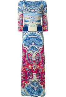 Etro Vestido De Seda Estampado - Azul