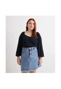 Blusa Decote Princesa Com Botões Curve & Plus Size Preto