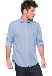 Camisa Linho Von Dutch Regular Fit Básica Azul