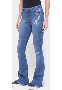 Calça Jeans Flare Enfim Destroyed Feminina - Feminino-Azul