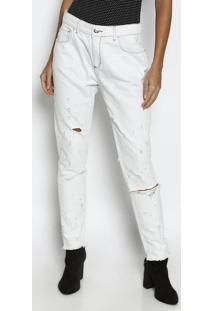 Jeans Boyfriend Com Puídos - Azul Claroforum