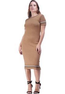 Vestido Tricot Amazonia Vital Ravena Feminino - Feminino-Marrom