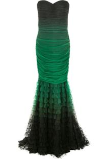 Tadashi Shoji Vestido Longo Com Tule - Verde