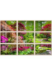 Quadro 180X270Cm Painel Jardim Japônes Em Haia Moldura Natural Com Vidro