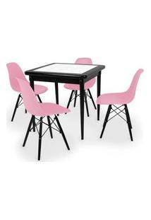 Conjunto Mesa De Jantar Em Madeira Preto Prime Com Azulejo + 4 Cadeiras Eames Eiffel - Rosa