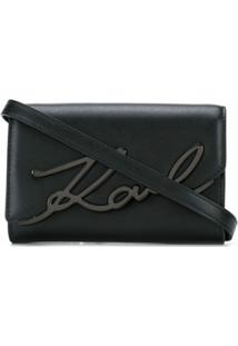 Karl Lagerfeld Bolsa Transversal Signture - Preto