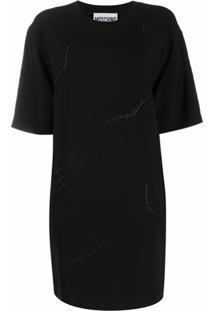 Moschino Vestido Reto Com Bordado - Preto