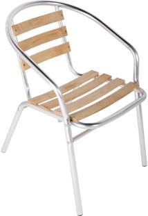 Cadeira Bistrô Em Alumínio E Madeira Leysin