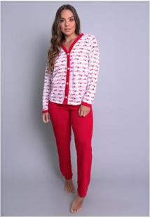 Pijama Mvb Modas Aberto Blusa Com Botões E Calça Feminino - Feminino-Vermelho