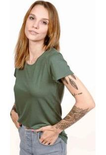 Camiseta Decote Redondo Em Modal Terrário Cora Básico Feminina - Feminino-Verde