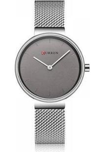 Relógio Curren Analógico C9016L Feminino - Unissex-Prata