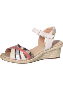 Sandália Anabela Doctor Shoes 664 Detalhe Em Cobra