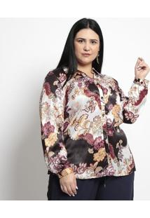 Camisa Floral Acetinada- Off White & Preta- Pianetapianeta
