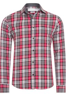 Camisa Masculina Xadrez Vista Espinho - Vermelho