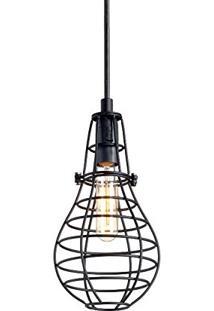 Luminária Pendente Aramado Lamp Grande Preto Ref: Lt-166