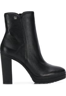 Dkny Ankle Leather Booties - Preto