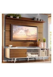 Rack Madesa Dubai E Painel Para Tv Até 65 Polegadas Com Pés - Branco/Rustic 9B6E Branco
