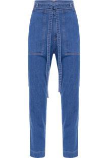 Calça Feminina Straight Cós Bolso - Azul