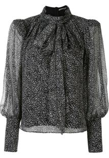 Thurley Blusa Coco Animal Print - Preto