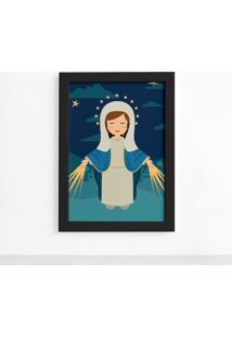 Quadro Nossa Senhora Das Graã§As Moldura Preta 22X32Cm - Multicolorido - Dafiti