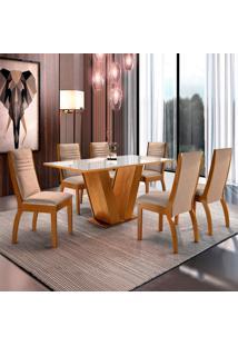 Conjunto De Mesa De Jantar Classic Com 6 Cadeiras Excelence Ll Suede Off White E Bege
