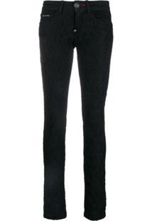 Philipp Plein Calça Jeans Skinny Com Amarração - Preto