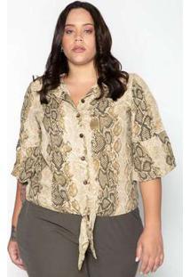 Camisa Plus Size Animal Print Bege Verde Bege