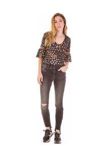 Calça Zinco Skinny Regular Cós Intermediário Black Jeans
