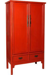 Armário Tangshan Chinês Vermelho De Madeira Com 2 Portas E 2 Gavetas
