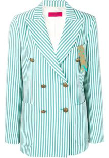 The Gigi Striped Buttoned Jacket - Green
