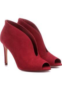 Sandália Couro Shoestock Salto Fino Decote Feminina - Feminino-Vinho