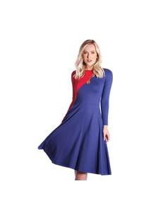 Vestido Duas Cores Ficalinda Azul Marinho E Vermelho Manga Longa Decote Canoa