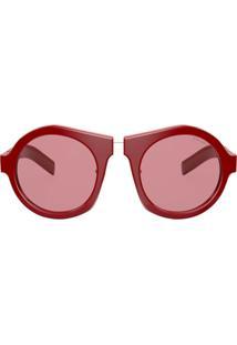 Prada Eyewear Óculos De Sol Redondo Oversized - Vermelho