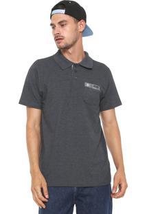 Camisa Polo Rusty Reta Wave Cinza