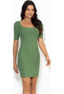 Vestido Curto Canelado Verde