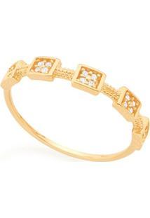 Anel Skinny Ring Detalhes Quadrados Com Zircônias Rommanel - Feminino-Dourado