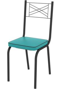 Conjunto Sala De Jantar Mesa Lotus Tampo De Vidro Preto E 4 Cadeiras Artefamol Preto/Azul