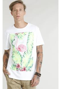 Camiseta Masculina Flamingo Manga Curta Gola Careca Off White