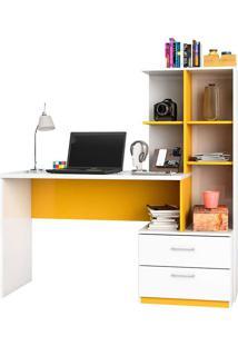Mesa De Computador C/ 2 Gavetas Poli-Poliman - Branco / Amarelo