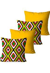 Kit Com 4 Capas Para Almofadas Decorativas Amarelo Étnica Geométrico 45X45Cm