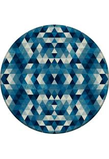 Tapete Love Decor Redondo Wevans Abstrato Azul 84Cm