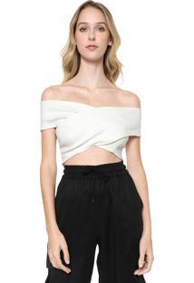 Blusa Cropped Calvin Klein Jeans Ombro A Ombro Branca - Branco - Feminino - Viscose - Dafiti