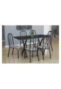 Conjunto De Mesa Miame Com 6 Cadeiras Madri Preto Prata E Branco Floral