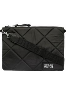 Versace Jeans Couture Bolsa Transversal Matelassê Com Patch De Logo - Preto